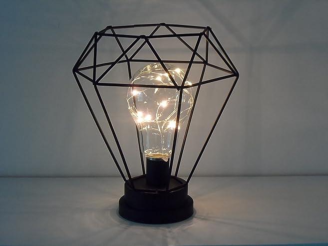 LED Light Bulb Retro Black Geometric Industrial Battery Lamp ...