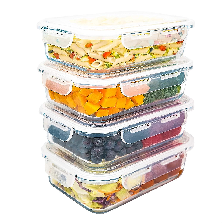 Contenitori Ermetici per Alimenti e Sicuri per Microonde Lavastoviglie e Congelatore Luxury /& Grace Set 4 Contenitori in Vetro 1500 ml Senza BPA. Forno
