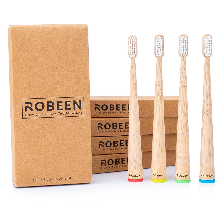 Cepillos de dientes de bambú con cerdas suaves, cuidado dental natural para toda la familia, diseño de pie, biodegradable, respetuoso con el medio ambiente, ...