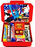 American Candy Gift Box Hamper | All Items Imported From The USA | Letterbox Friendly | Full Size Baby Ruth Tootsie Roll Butterfinger Reese's Big Cup Hershey's | A1 Hamper Exclusive To CANDYPLANET