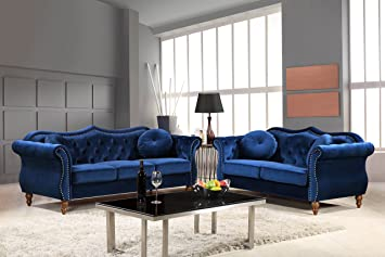 Surprising Container Furniture Direct S5365 2Pc Carbon Velvet Upholstered Classic Chesterfield Sofa Set 79 5 Sofa And Loveseat Blue Spiritservingveterans Wood Chair Design Ideas Spiritservingveteransorg