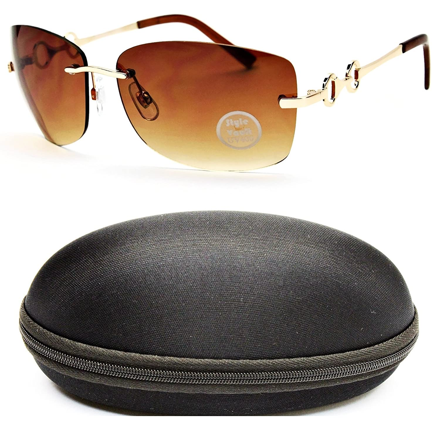 D682-cc Style Vault Shield Rimless Sunglasses