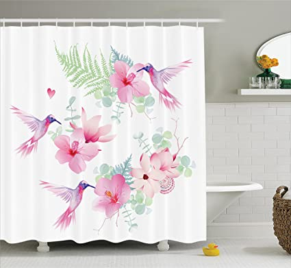 Amazon ambesonne floral shower curtain set hummingbirds decor ambesonne floral shower curtain set hummingbirds decor tropical flowers with flying hummingbirds wild nature branches mightylinksfo