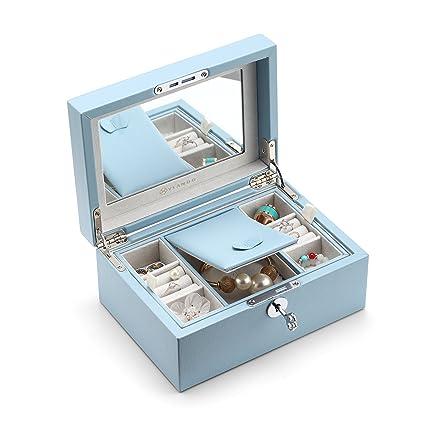 4d8b00386ddda Vlando Jewelry Box, Jewelry Organizer and Storage with Mirror and Tray -Blue