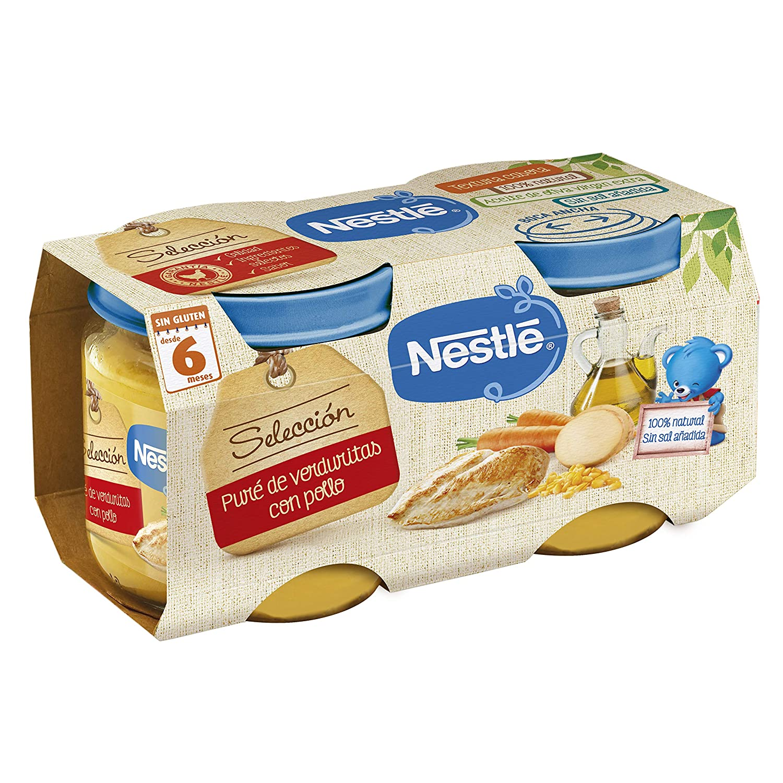Nestlé Selección Tarrito de puré de verduras y carne, variedad puré de Verduritas con Pollo - Para bebés a partir de 6 meses - Paquete de 5x2 Tarritos ...
