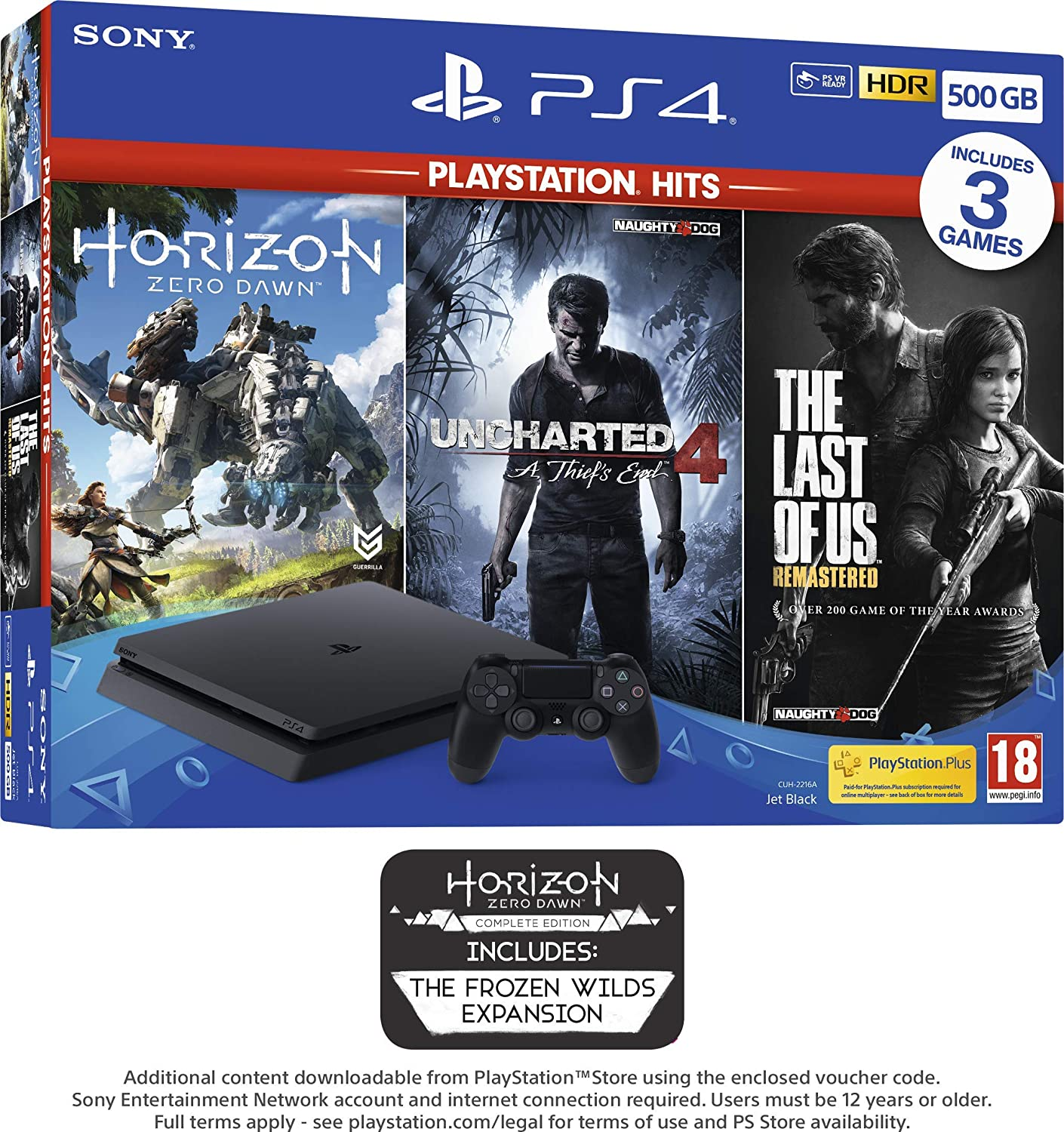 PS4 500GB with 3 PS Hits Game Bundle (PS4) (Exclusive to Amazon.co ...