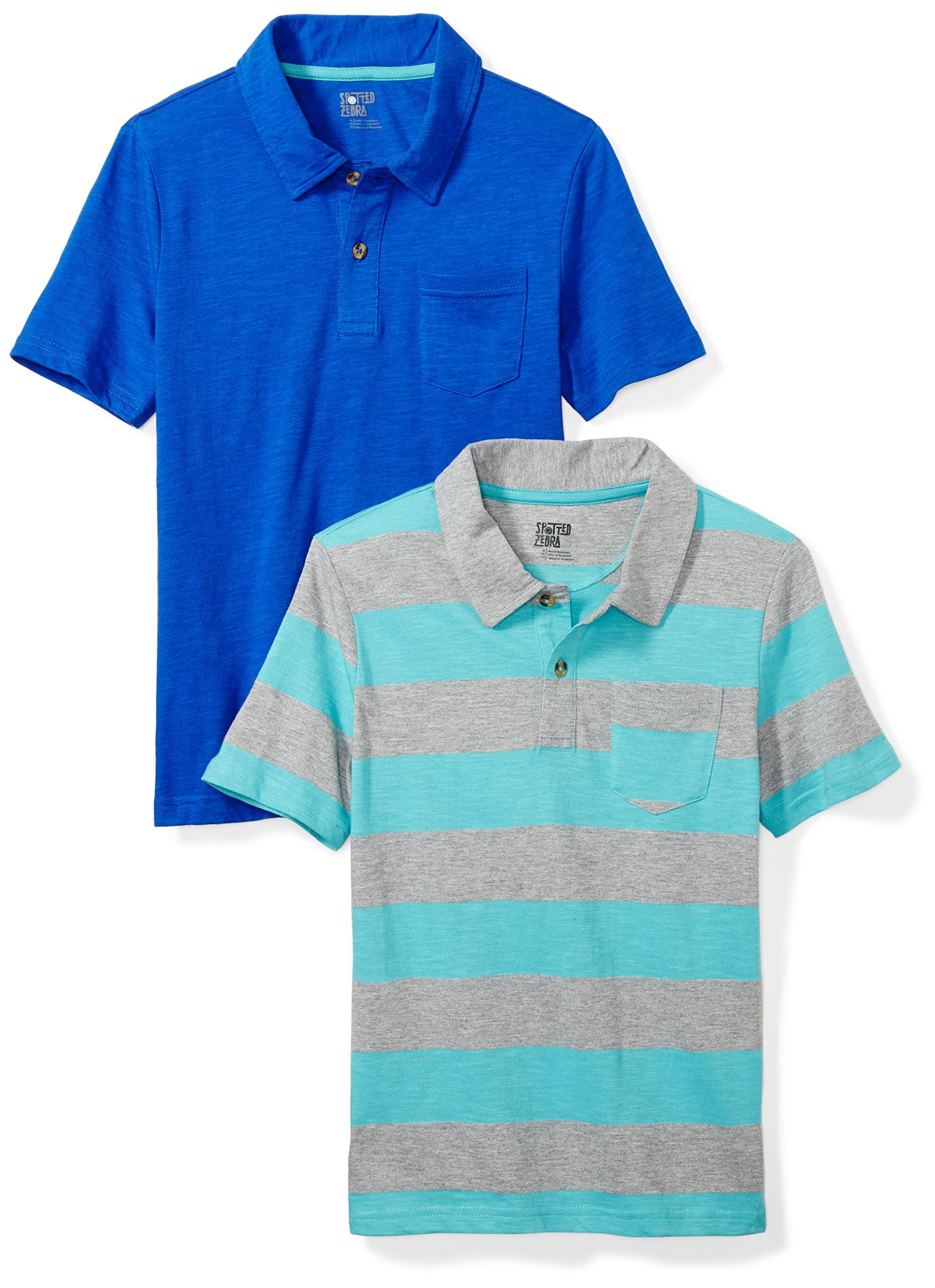 Spotted Zebra Little Boys' 2-Pack Slub Jersey Short-Sleeve Polo Shirts, Blue/Stripe, Small (6-7)