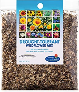 Drought Resistant Tolerant Wildflower Seeds Open-Pollinated Bulk Flower Seed Mix for Beautiful Perennial, Annual Garden Flowers - No Fillers - 4 oz Packet