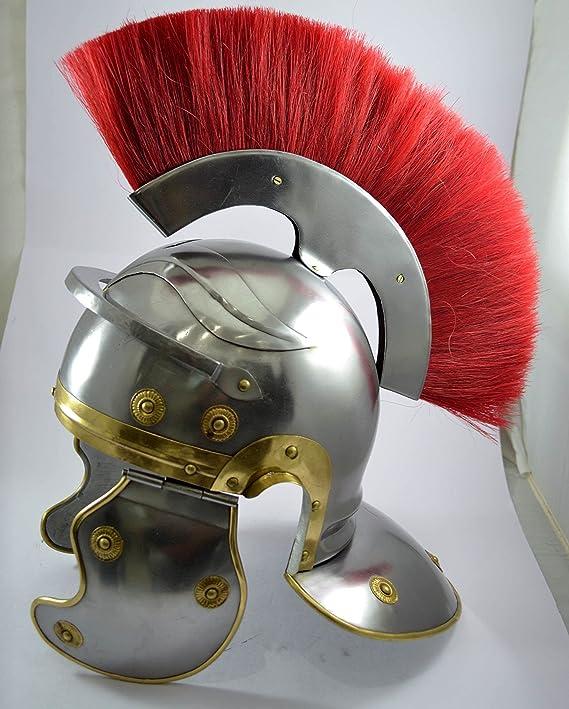 Centurión romano casco con rojo réplica pluma en la parte superior del casco Romano: Amazon.es: Hogar