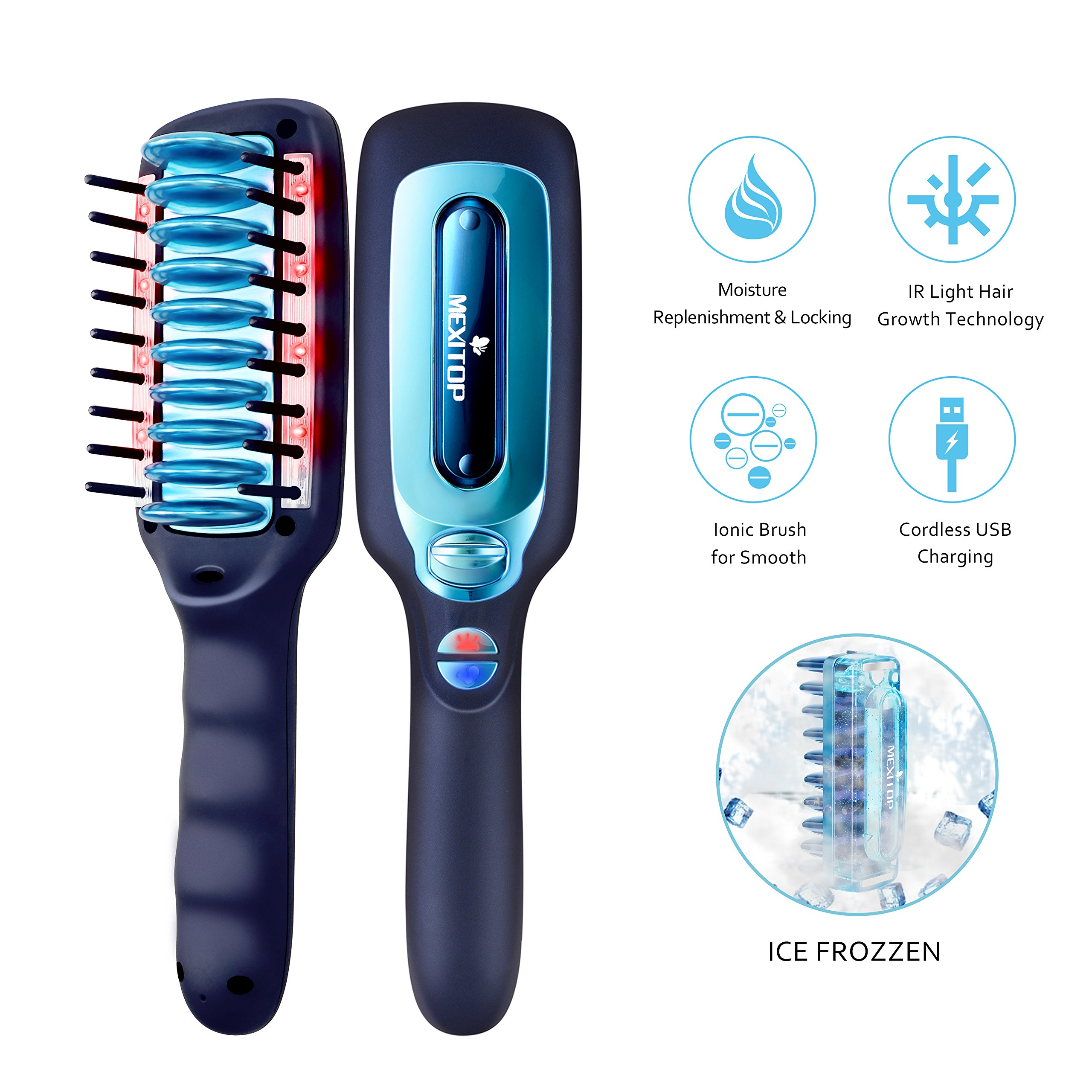 Hair Repair Laser Growth Brush – Mexitop Ice Hair Care Conditioning System, Locked in Hydration, Hair Growth, Dry & Damaged Hair Treatment,Ionic Brush Reducing Hair Knotting, USB Charging, Matt Black