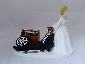 Wedding Reception Party Garage Mechanic Tool Grease Cake Topper