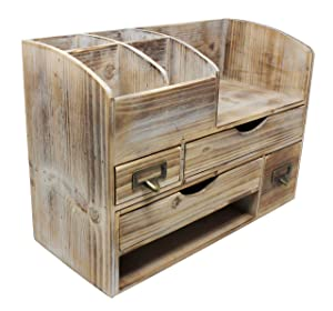 Executive Office Solutions Large Adjustable Wooden Office Desk Organizer for Desktop, Tabletop, or Counter – Wood Storage Shelf Rack – for Office Supplies, Desk Accessories, or Mail - Barnwood (WO13)