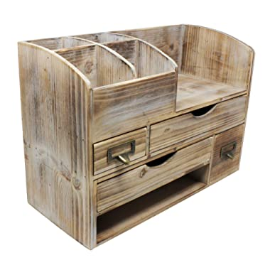 Large Adjustable Vintage Rustic Wooden Office Desk Organizer & Mail Rack For Desktop, Tabletop, or Counter – Distressed Torched Wood Storage Shelf Rack – For Office Supplies, Desk Accessories, or Mail