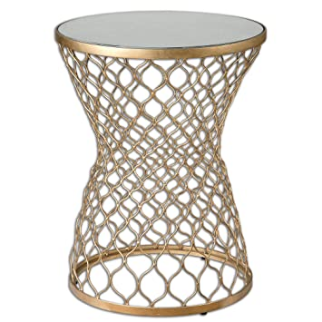 Elegant Luxe Gold Moroccan Side Table
