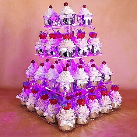 Multicolor Hexnub soporte de 3 plantas niveles acr/ílico para cupcakes magdalenas pasteles y postres torre para servir con luces LED para fiesta de bodas cumplea/ños baby shower meriendas