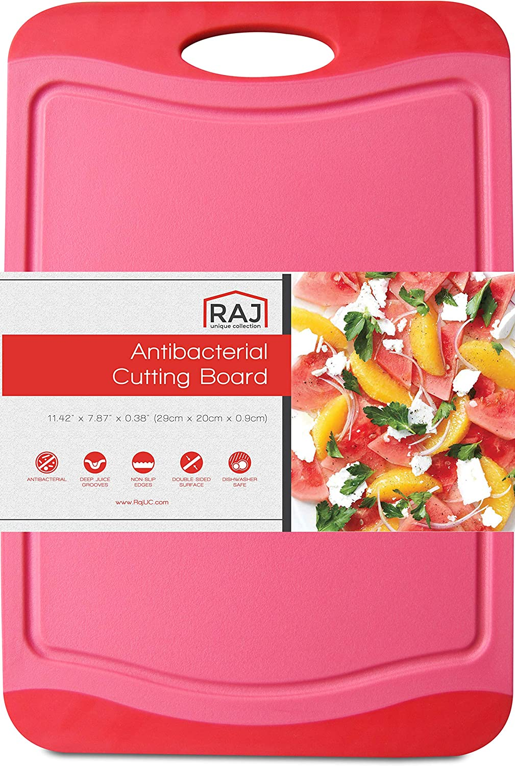 """Raj Plastic Cutting Board Reversible Cutting board, Dishwasher Safe, Chopping Boards, Juice Groove, Large Handle, Non-Slip, BPA Free, FDA Approved (12"""", Red with Dark Red border)"""