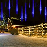 Meteor Shower Rain Lights Christmas LED Decoration Falling Drop String Light icicle 8 Tube 30cm (Blue)