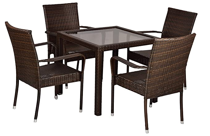 FurniFuture™ Gravity Outdoor Patio Furniture Set 4+1 - (Brown)