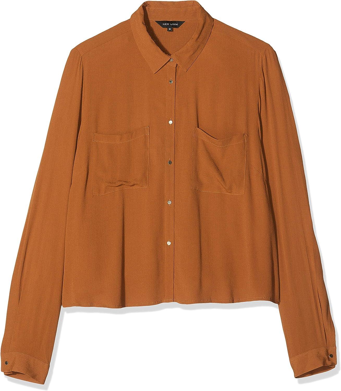 New Look Crop Cassa Camisa, Orange (Rust), ES 34 (UK 6) para ...