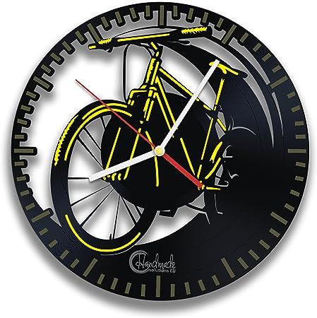 Amarillo para bicicleta reloj de pared de vinilo para persona activa, hecho a mano soluciones deporte y hobby Original Vintage diseño de bicicleta: Amazon.es: Hogar