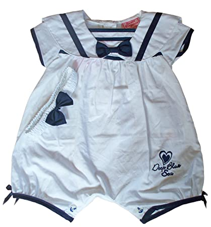 Sweet Elegance bebé niñas blanco verano Pelele de marinero blanco Navy/white Talla:3