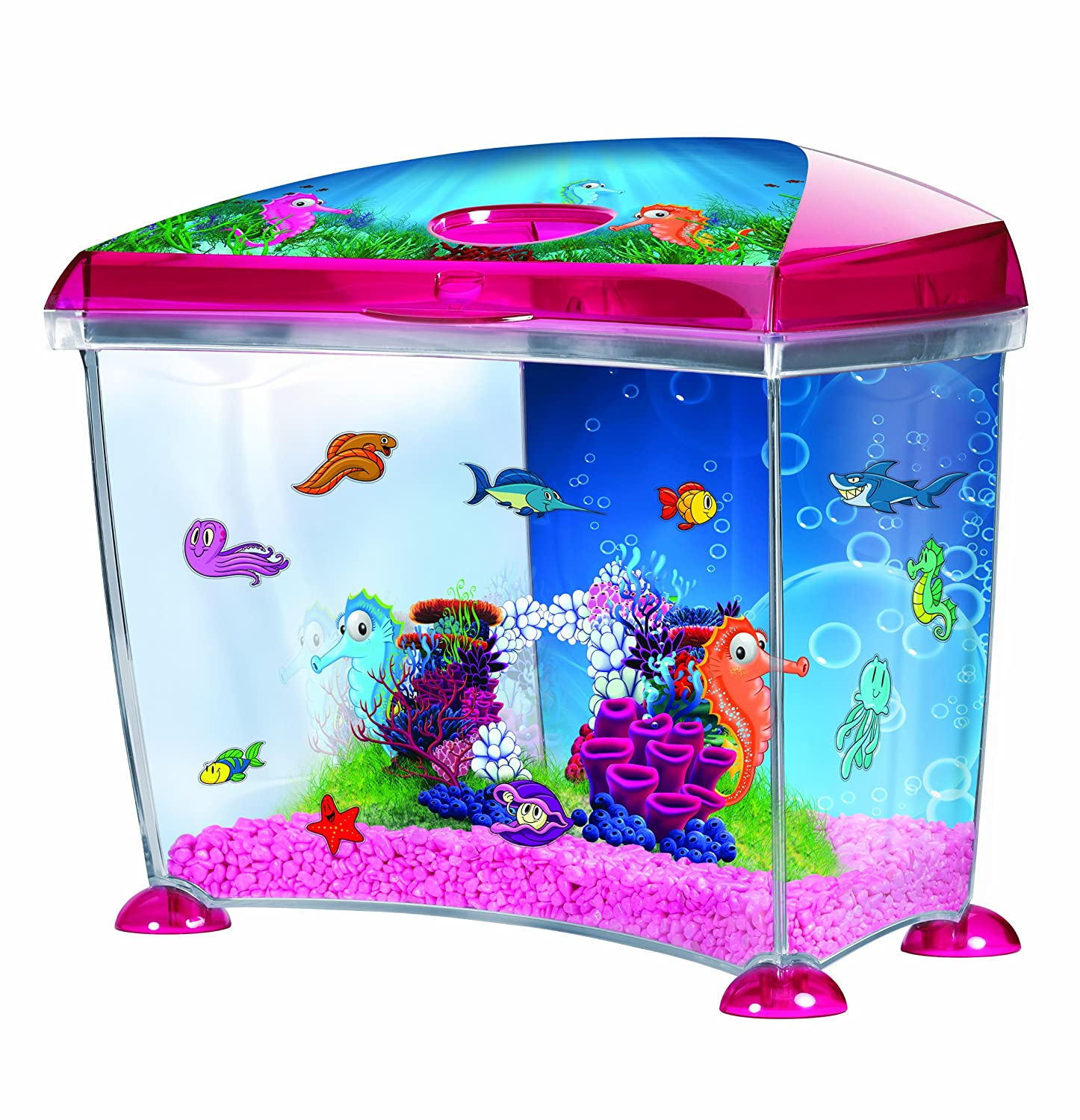 Pink fish tank aquarium with filter - Marina Seahorse Fantasy Plastic Aquarium Kit 14 Litre