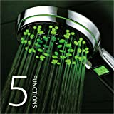 HotelSpa All Chrome 5 Setting LED/LCD Handheld Shower-Head with Lighted LCD Temperature Display by Top Brand Manufacturer! Color of LED lights changes automatically according to water temperature