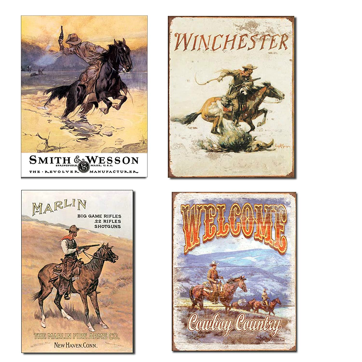 Vintage Cowboy Tin Sign Bundle - Smith & Wesson Hostiles, Winchester, Marlin/Cowboy on Horse and Welcome Cowboy Country