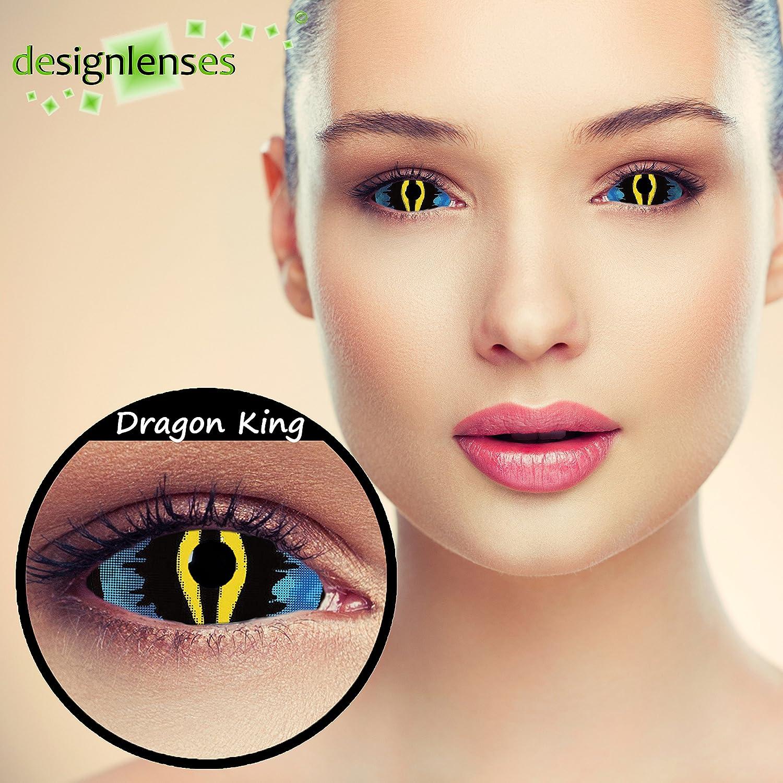 22mm Full Sclera Oeil de chat lentilles de couleur bleu et jaune sans  correction pour halloween ou carnaval dragon costume + Récipient gratuit -