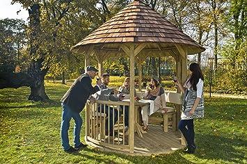 GC - Mesa de Madera Redonda para cenador Villandry: Amazon.es: Jardín