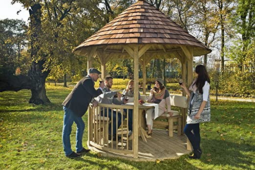 GC Mesa redonda de madera para cenador Villandry: Amazon.es: Hogar