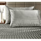 Chateau Home Hotel Collection - Luxury 500 Thread Count 100% Egyptian Cotton Damask Stripe Deep Pocket Super Soft Sateen Weave Sheet Set, Mega Sale Lowest Prices, Queen-Silver
