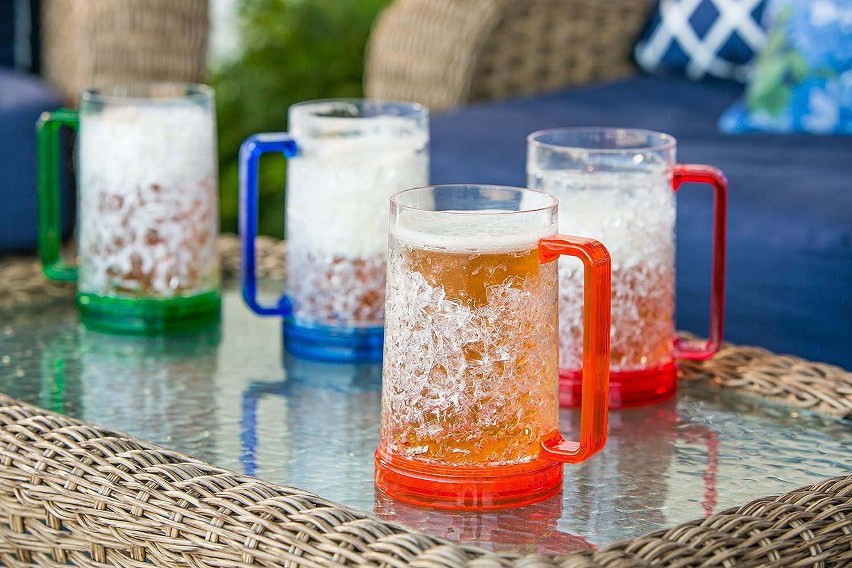 Double Wall Gel Freezer Mug - Set of 4 - Red, Orange, Blue, Green Cypress 3ABR001