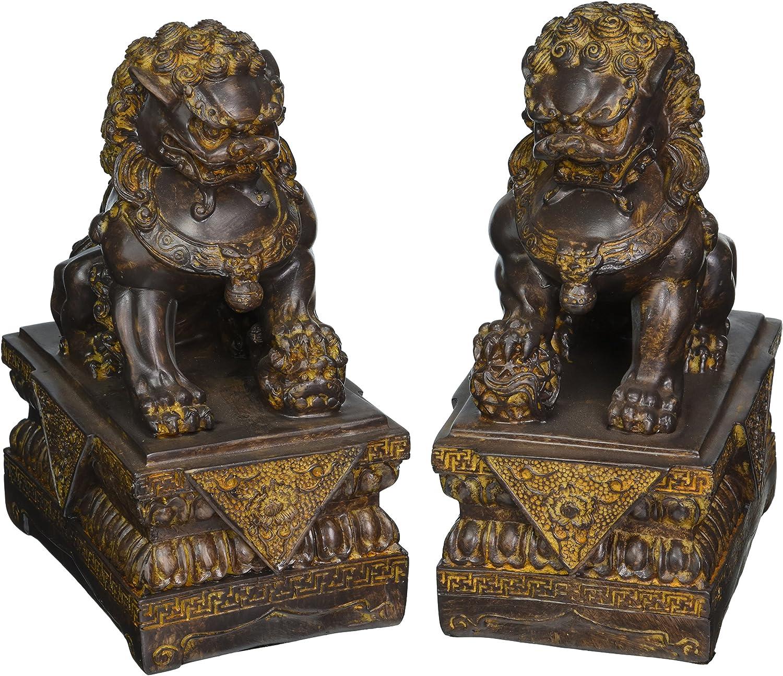 "Oriental Furniture 9"" Foo Dog Statues (Set of Two)"