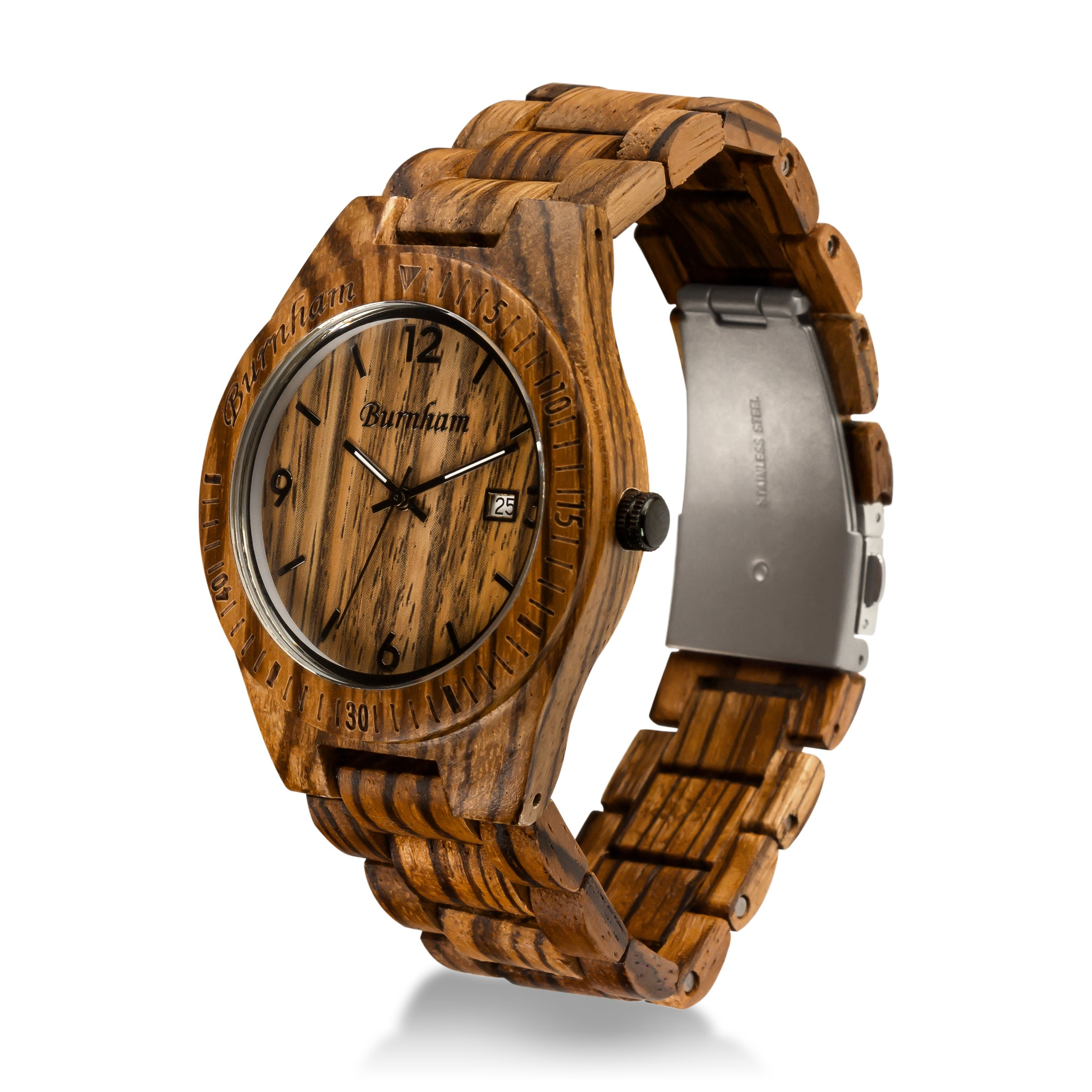 Burnham Wooden Watch - ARG001 Stylish Mens Wood Watches [Solid Natural Wood Grain] Upgraded Swiss Quartz Movement and Date [Easy set and adjust wood watch strap] Fine Crystal Face And Stainless Clasp