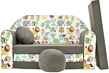 PRO COSMO - Sofá Cama para niños A5 con puf, reposapiés y Almohada, Tela, 168 x 98 x 60 cm