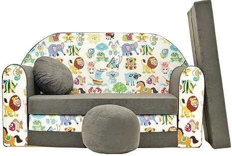 Pro cosmo a5 bambini divano letto con pouf poggiapiedi cuscino