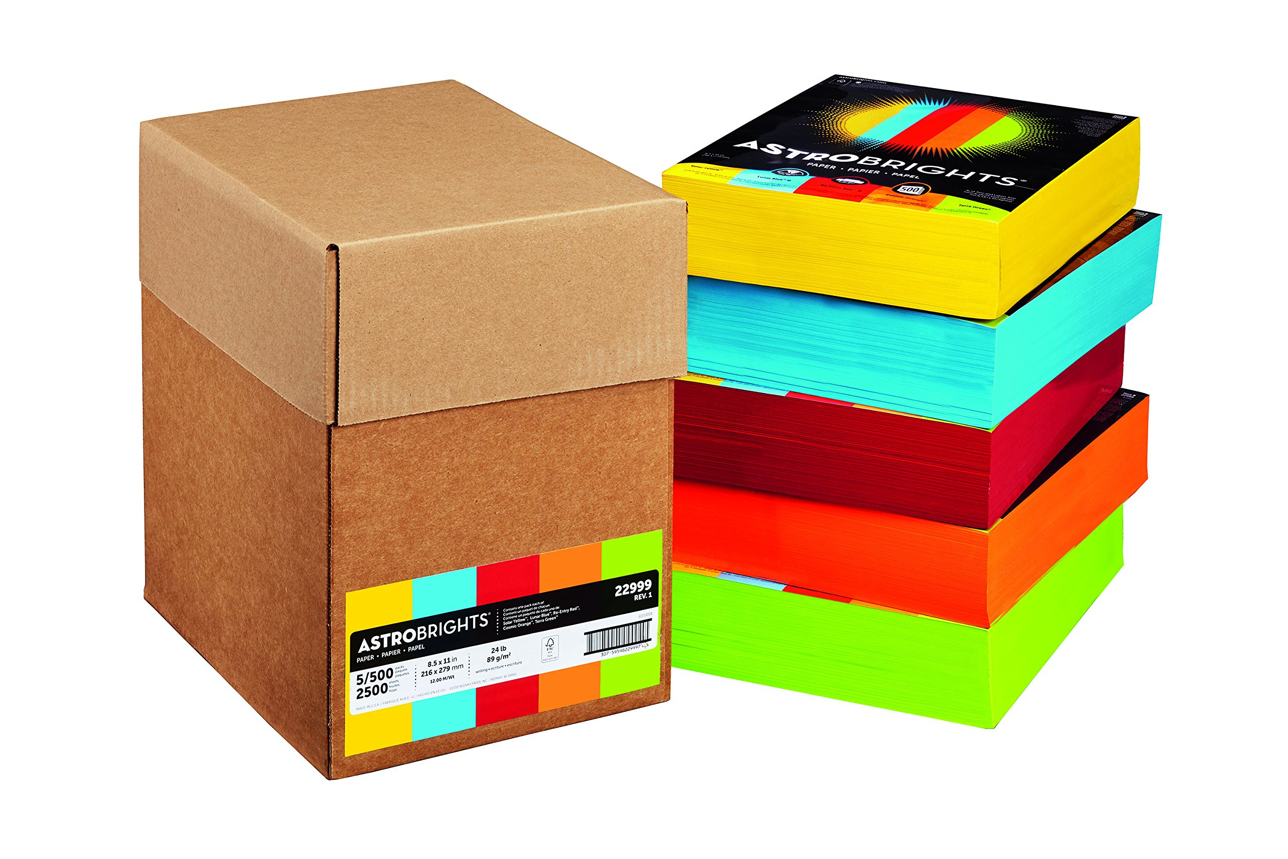 Astrobrights Color Paper, 8.5''x 11'', 24 lb/89 gsm, 5-Color Mixed Carton, 2500 sheets (22999) by Astrobrights