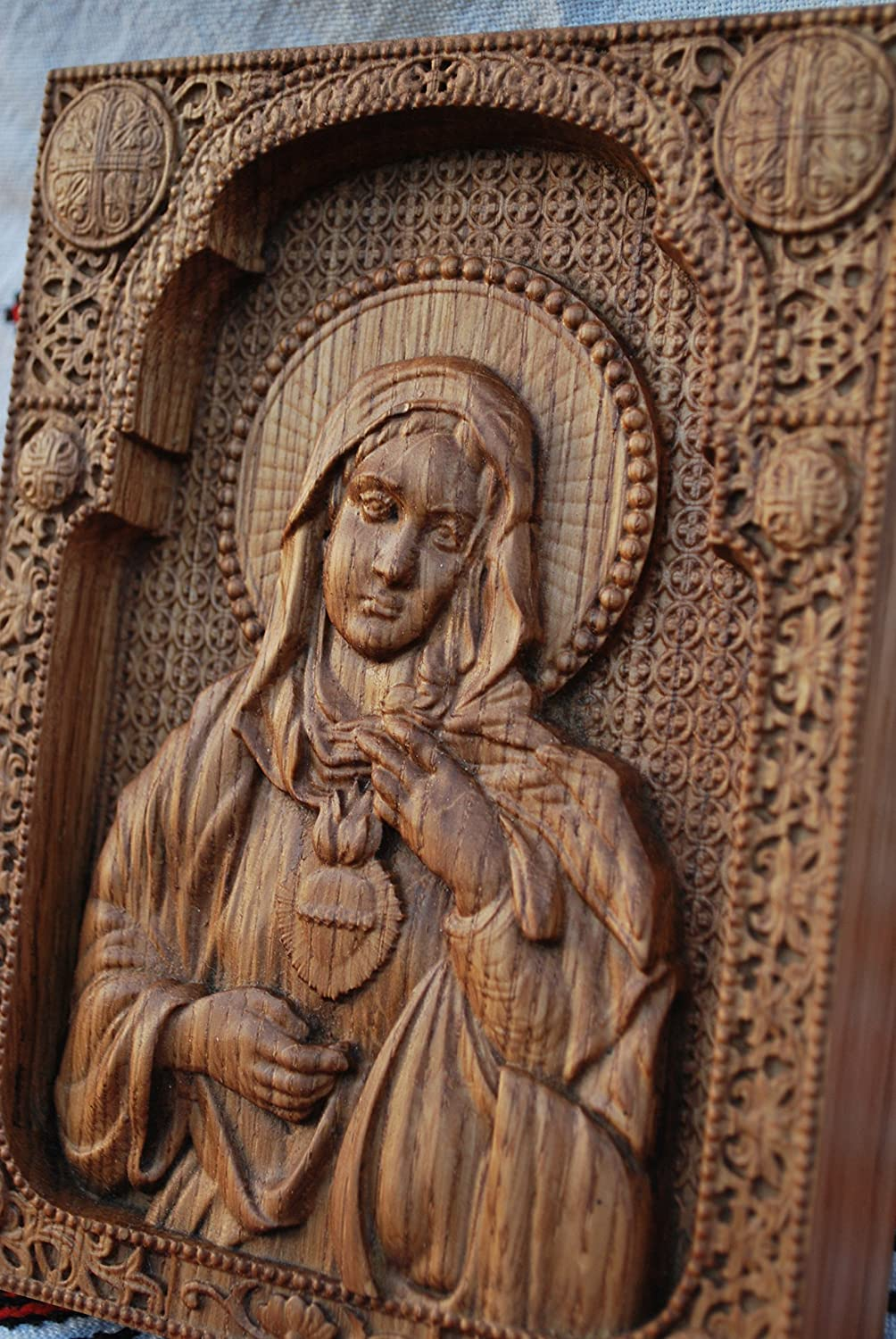 Immaculate Heart of Mary Christian Gift Virgin Mary Wall Art Wood Carving Religious Icon Home Decor from Artworkshop Tree of life FREE SHIPPING FREE ENGRAVING