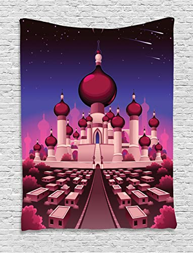 Ambesonne Fantasy Tapestry, Castle at Night Oriental Fairy Tale Palace Landscape Illustration, Wall Hanging for Bedroom Living Room Dorm, 60 X 80 , Magenta Indigo