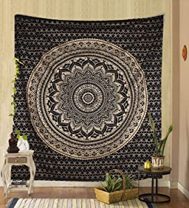 Marubhumi Tapestry Wall Hanging Mandala Tapestry Art Nature Home Decorations for Living Room Bedroom Dorm Decor (Black & Gold, Poster (76 x 101 Cms / 30 x 40 Inches))