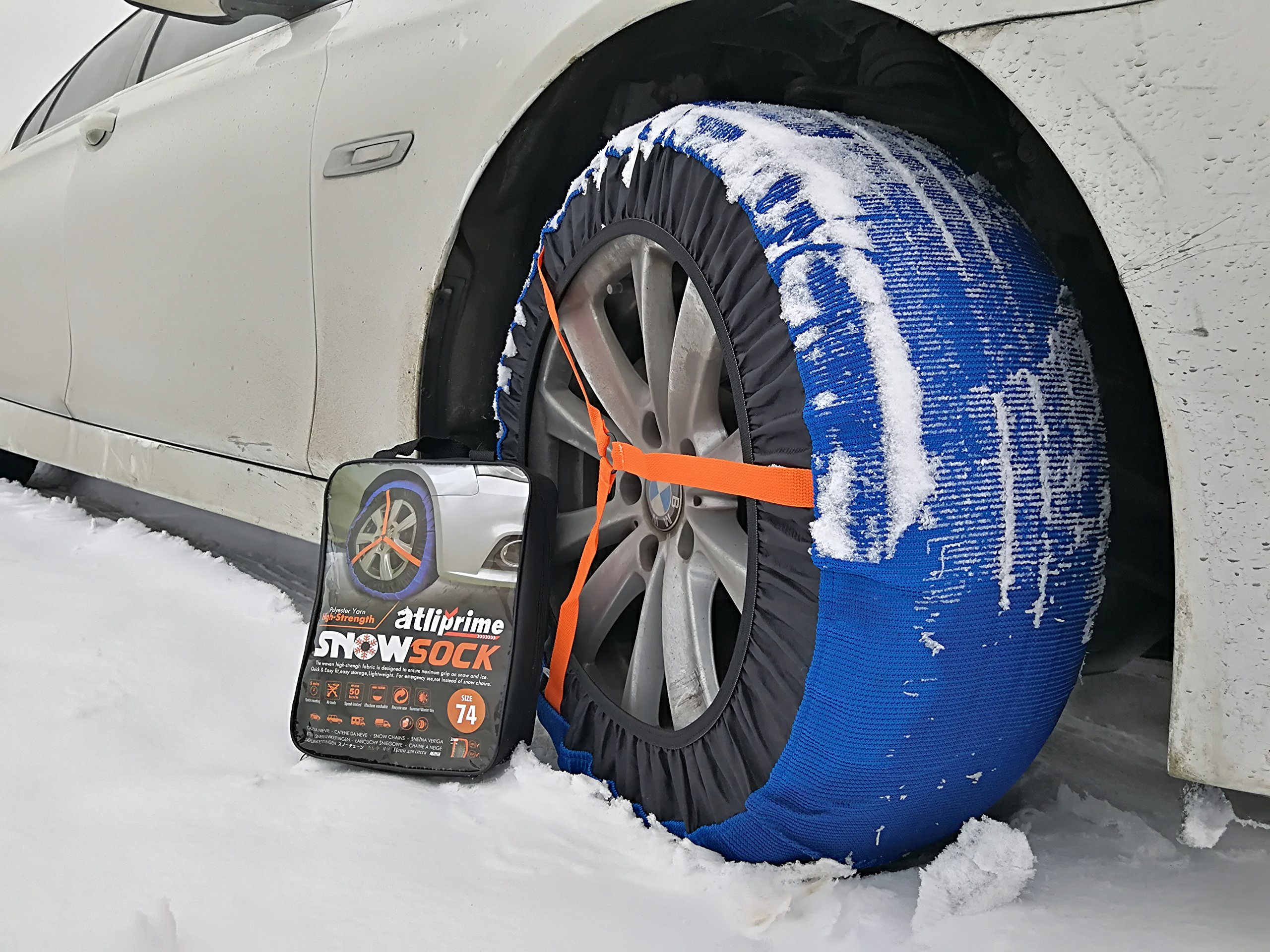atliprime 2pcs Anti-Skid Safety Ice Mud Tires Snow Chains Auto Snow Chains Fabric Tire Chains Auto Snow Sock on Ice and Snowy Road (AT-SB81) by atliprime