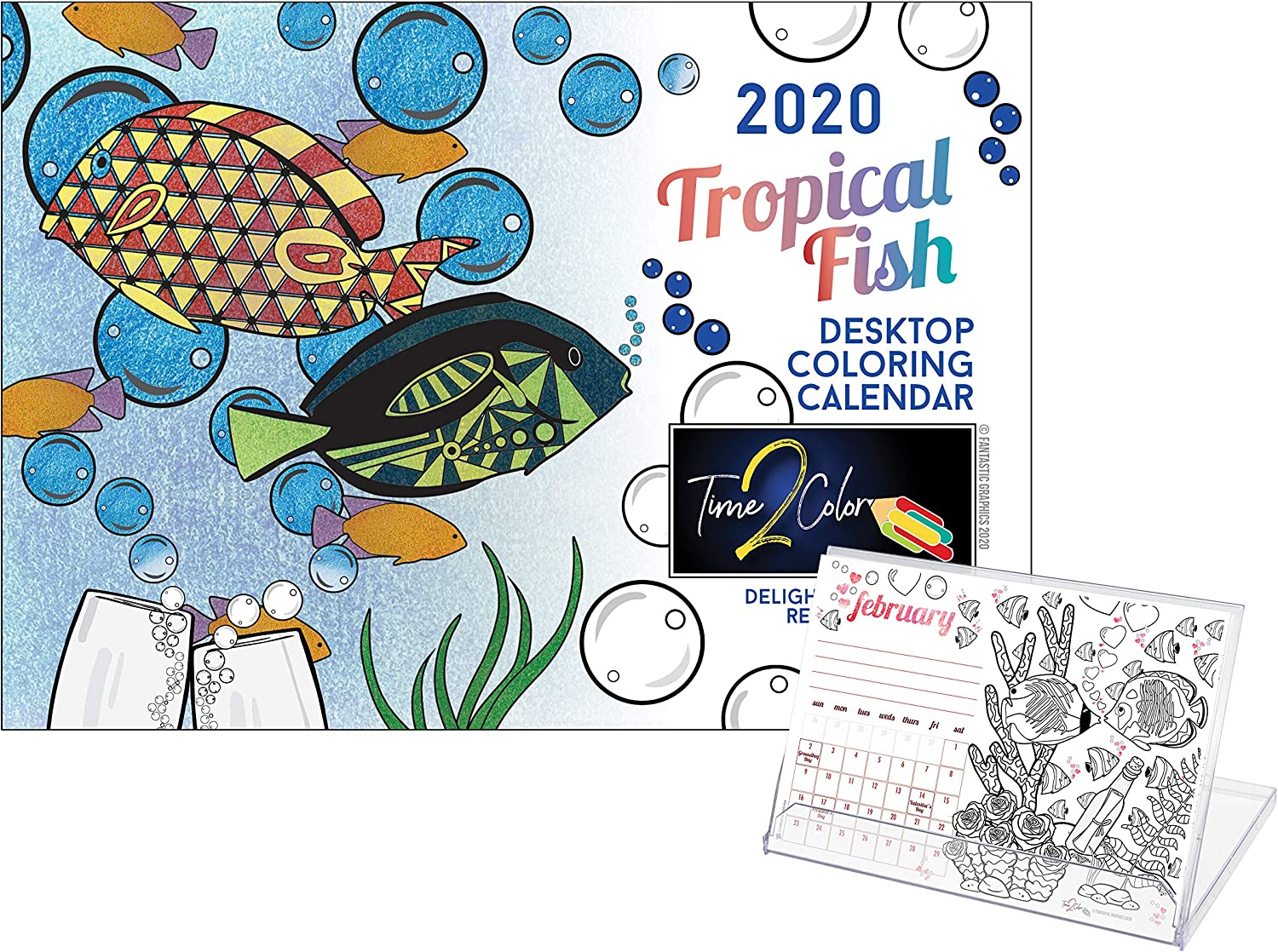 "Time2Color 2020 Standing Lucite Desktop Coloring Calendar: January to December (6"" X 8.5"") (Tropical Fish Theme)"