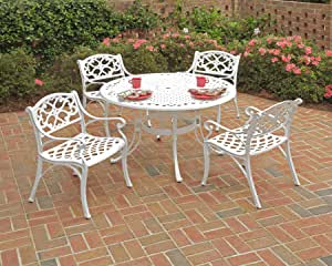 Amazon.com: Biscayne White 5-Piece Dining Set with Round ...