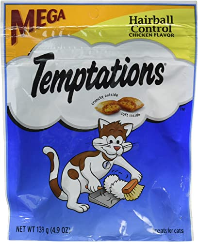 Whiskas Temptations Hairball Control Chicken Flavor Cat Treats 4.9 oz by Mars 3-Pack Bundle