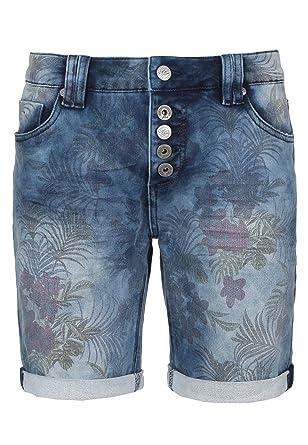 Urban Surface Damen Jeans Bermuda-Shorts mit Allover Blumenprint    Sweat-Shorts   Bequeme Kurze Hose Dark-Blue XS  Amazon.de  Bekleidung e559ddc83b