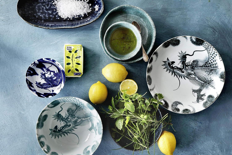 TOKYO design studio Rond Japon Assiette Plate en Porcelaine. 3 Assiettes 25,3cm S/érie Dragon dans bo/îte Cadeau d/écorative