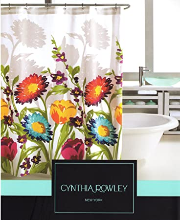 Amazon.com: Cynthia Rowley Fiorina Floral Fabric Shower Curtain: Home U0026  Kitchen