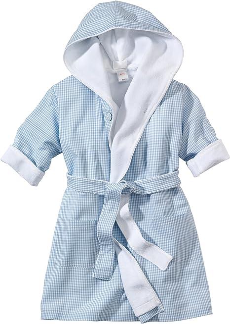 WELLYOU Bata de baño para niños, Azul Claro-Blanco Cuadros Vichy, para niños, 100% algodón. Tallas 68-122 (68-74): Amazon.es: Bebé