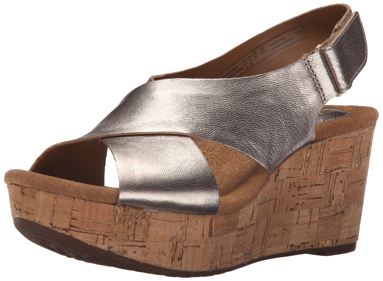Clarks Women's Caslynn Shae Wedge Sandal, Gold, 9.5 M US